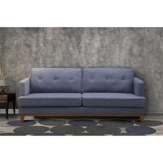 Sadey Mid-Century Tufted Sofa in Champagne finish with Washed Gray Fabric