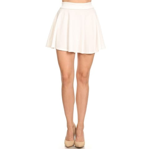 Women's Basic Solid Pull-On Pleated Mini Skirt