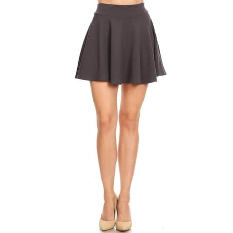 Women's Basic Solid Pull-On Pleated Mini Skirt