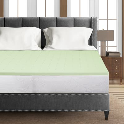 1.5 Inch Green Tea Infused Memory Foam Bed Topper Cooling Mattress Pad - Crown Comfort