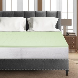 Link to 1.5 Inch Green Tea Infused Memory Foam Bed Topper Cooling Mattress Pad - Crown Comfort Similar Items in Mattress Pads & Toppers