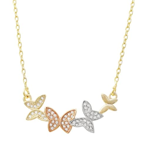 Luxiro Tri-color Finish White Cubic Zirconia Girl's Butterfly Necklace