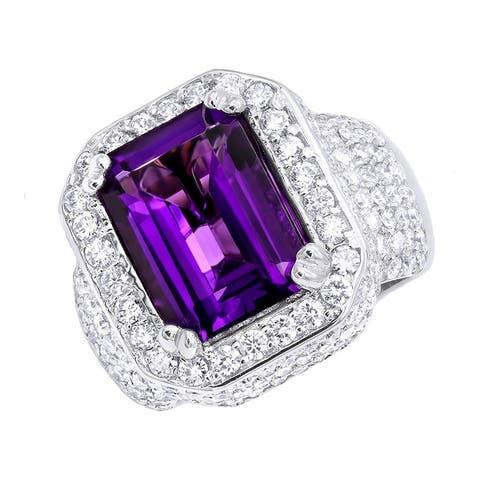 Unique Vintage Style Amethyst and Diamonds Ring 5 Carats in 14k Gold by Luxurman