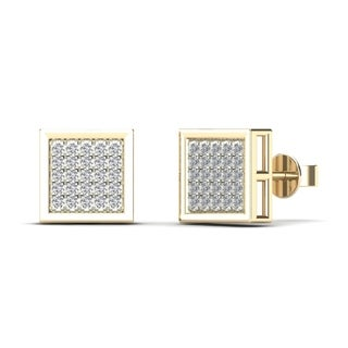 AALILLY Men's 10k Yellow Gold 1/6ct TDW Diamond Square Stud Earrings (H-I, I1-I2)