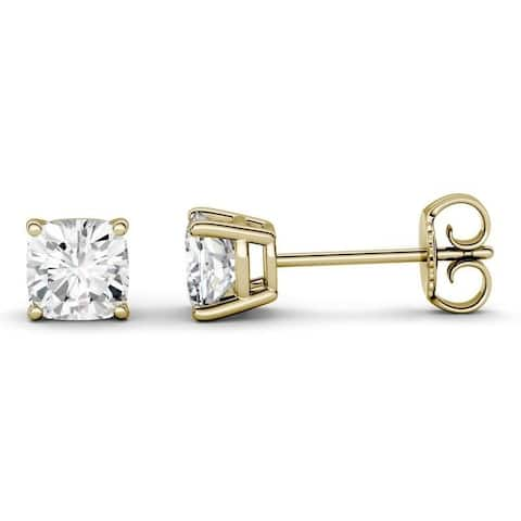 Moissanite by Charles & Colvard 14k Gold 2.20 TGW Cushion Stud Earrings