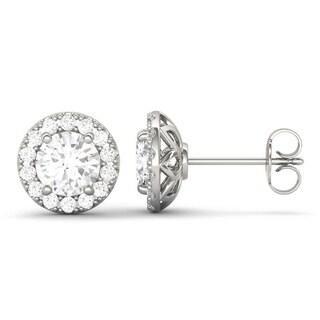 Moissanite by Charles & Colvard 14k White Gold 2.02 TGW Round Halo Earrings