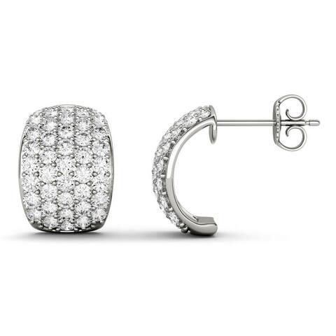 Moissanite by Charles & Colvard 14k White Gold 1.99 DEW Hoop Earrings