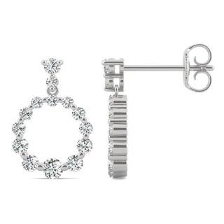 Moissanite by Charles & Colvard 14k White Gold 0.65 TGW Circle Earrings