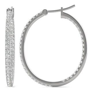 Moissanite by Charles & Colvard 14k White Gold 1.09 DEW Hoop Earrings