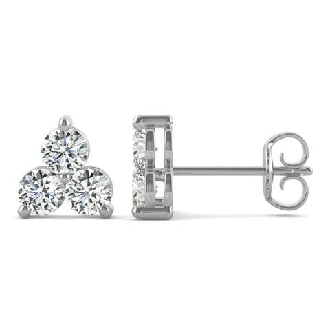 Moissanite by Charles & Colvard 14k White Gold 0.96 DEW Three Stone Earrings