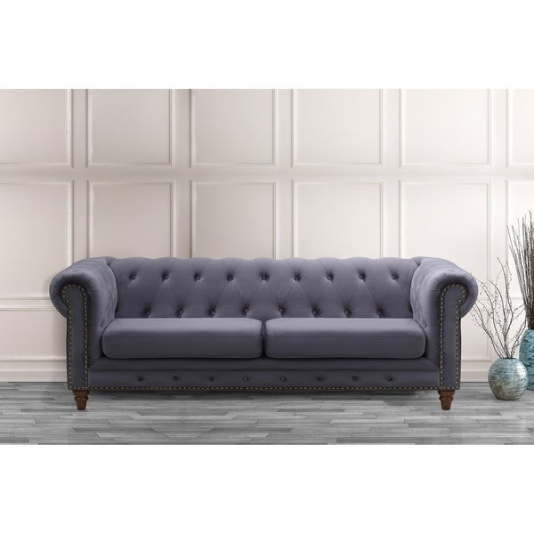 Dark Grey Velvet Sofa: Shop Hayden Chesterfield Dark Grey Velvet Upholstered Sofa