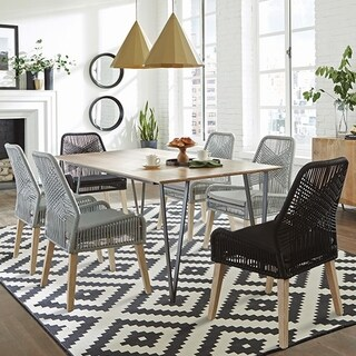 Nature Hand Crafted Design Mango Wood Dining Set with Woven Rope Chairs