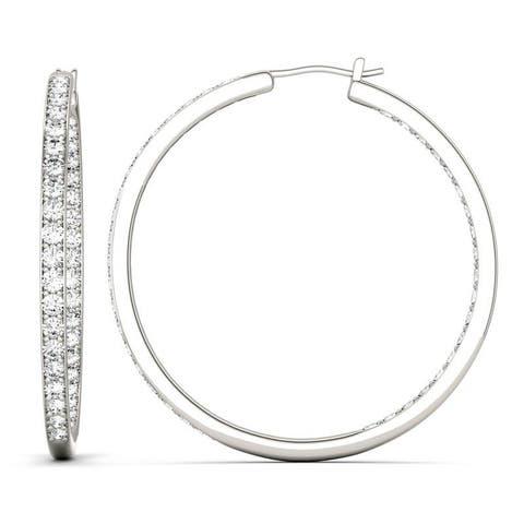 Moissanite by Charles & Colvard 14k White Gold 2.34 DEW Hoop Earrings