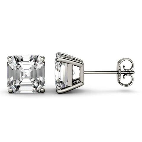 Moissanite by Charles & Colvard 14k White Gold 6.28 DEW Asscher Stud Earrings