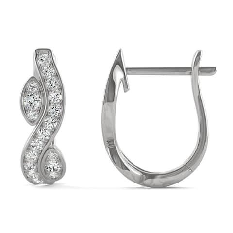 Moissanite by Charles & Colvard 14k White Gold 0.27 DEW Hoop Earrings