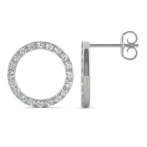 Moissanite by Charles & Colvard 14k White Gold 0.52 DEW Circle Stud Earrings