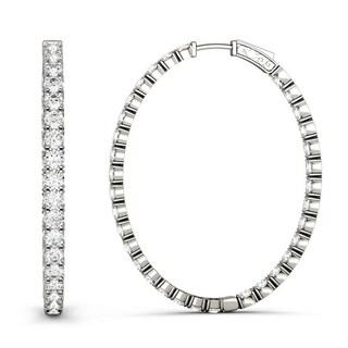 Moissanite by Charles & Colvard 14k White Gold 1.76 DEW Hoop Earrings
