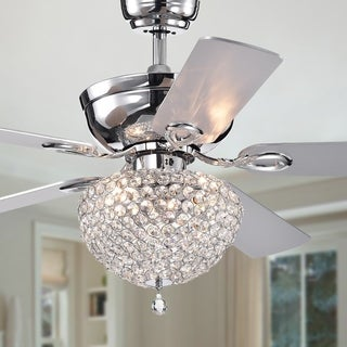 Swarna Chrome 5-blade 52-inch Lighted Ceiling Fan with Crystal Bowl Chandelier (Remote Controlled)