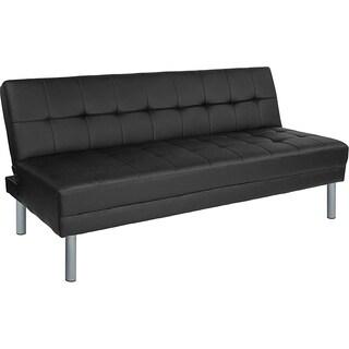 Castro Black Leather Tufted Futon Sofa Bed