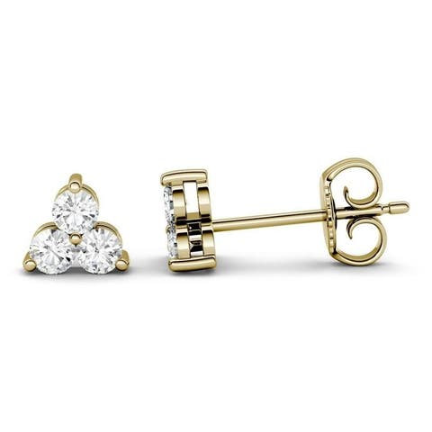 Moissanite by Charles & Colvard 14k Gold 0.36 DEW Three Stone Earrings
