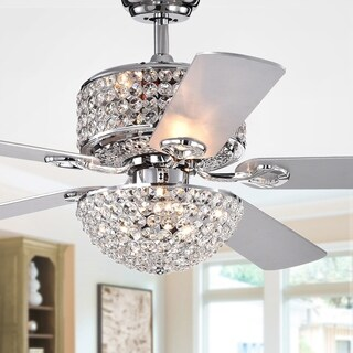 Laure Chrome 5-blade 52-inch Lighted Ceiling Fan with Crystal Shaded Chandelier (Remote Controlled)