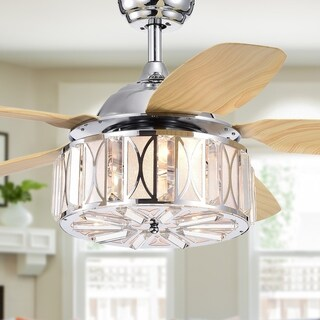 Sekspil 5-blade 52-inch Lighted Ceiling Fan with Glass Drum Shade (Remote Controlled)