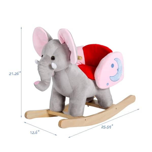 31 Inch Birthday Gift Kinbor Wooden Rocking Horse Plush Toys Rocker with Sound Gray for Kids Ages 2-3 Years