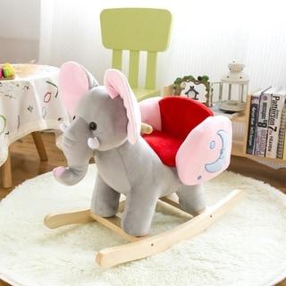 Kinbor Kids Rocking Horse Plush Ride On Toy Animal Rocker Children's Day Birthday Gift w/ Nursery Rhymes
