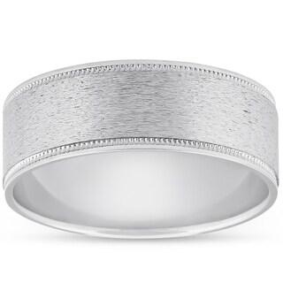 Bliss Platinum 8MM Brushed Comfort Fit Ring Mens Wedding Band