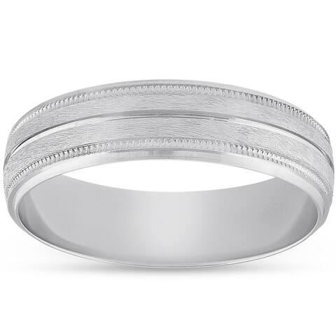 Pompeii3 Platinum 5MM Brushed Comfort Fit Ring Mens Wedding Band