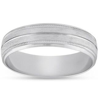 Bliss Platinum 5MM Brushed Comfort Fit Ring Mens Wedding Band