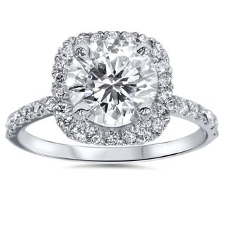 Bliss Platinum 1 ct TDW Diamond Cushion Halo Engagement Ring Clarity Enhanced (G-H,SI2-I1)