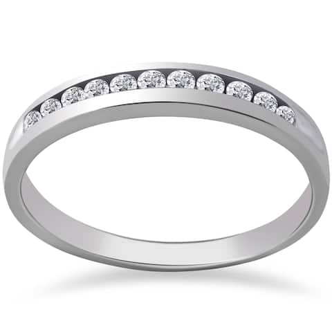 Pompeii3 Platinum 1/4 ct TDW Diamond Wedding Ring Channel Set Womens Anniversary Band