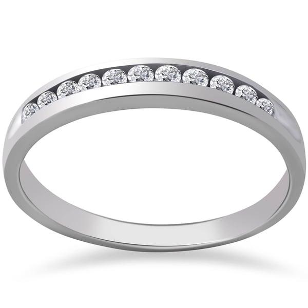 Pompeii3 Platinum 1/4 ct TDW Diamond Wedding Ring Channel Set Womens Anniversary Band. Opens flyout.
