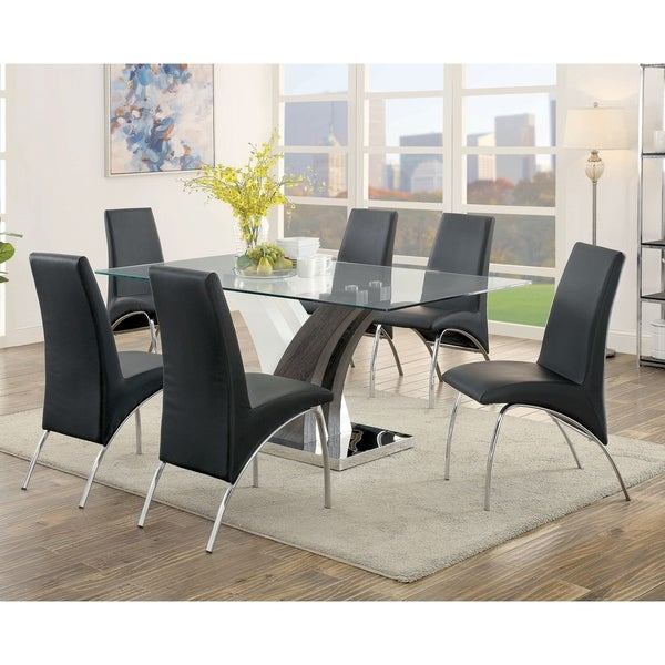 Furniture of America Amelia Contemporary Black 7-piece Dining Table Set