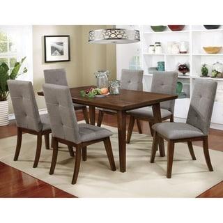 Furniture of America Kice Mid-Century Walnut 7-piece Dining Table Set