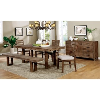 Furniture of America Dell Brown 6-piece Dining Table Set with Bench