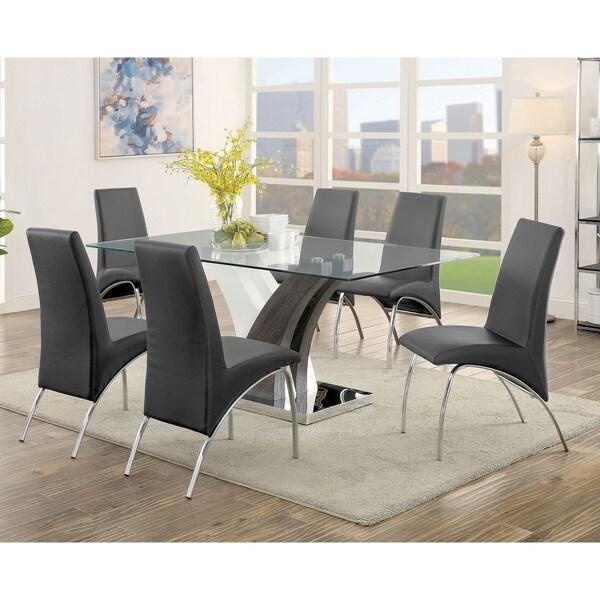 Furniture of America Amelia Contemporary Dark Gray 7-piece Dining Table Set