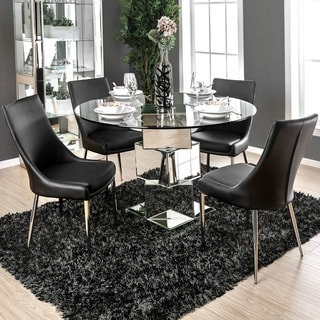 Furniture of America Fiti Contemporary Sliver 5-piece Dining Table Set