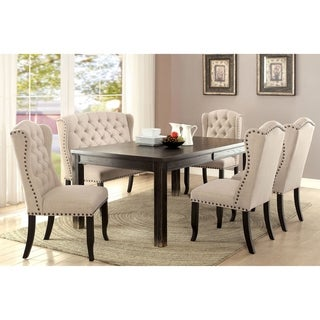 Furniture of America Foster Rustic Beige Linen 6-Piece Dining Table Set with Bench