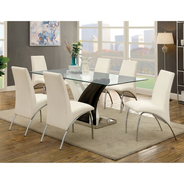Furniture of America Amelia Contemporary White 7-piece Dining Table Set