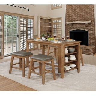 Furniture of America Taye Brown 5-piece Counter Dining Set w/ Barstools
