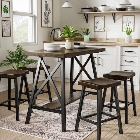 Furniture of America Datz Industrial Black Metal 5-piece Counter Set