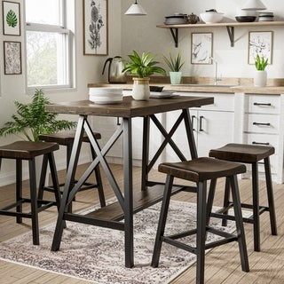 Link to Furniture of America Datz Industrial Black Metal 5-piece Counter Set Similar Items in Dining Room & Bar Furniture
