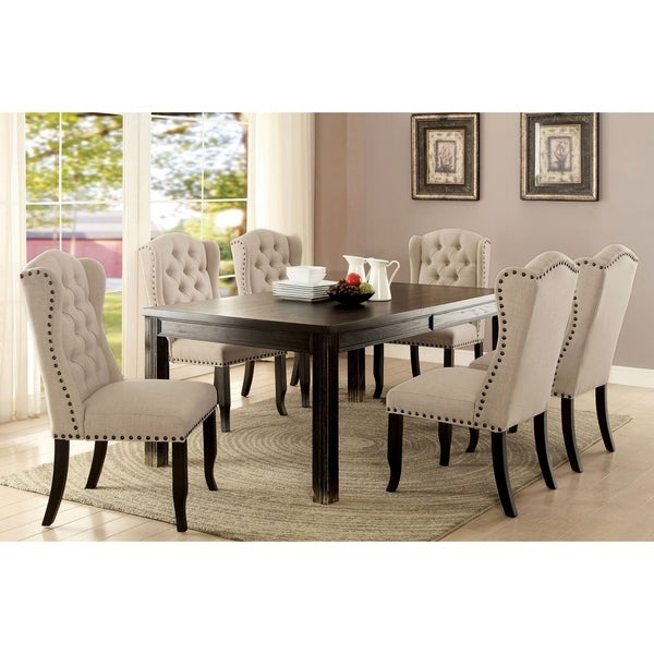 Furniture of America Foster Rustic 84-inch Beige Linen 7-piece Dining Table Set