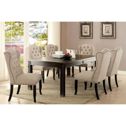 Foster Rustic 84-inch Antique Black 7-piece Dining Table Set by FOA