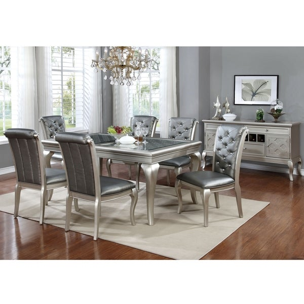 Furniture Of America Valencia 7 Piece Champagne Gold Dining Table Set