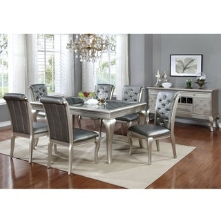 Furniture of America Valencia 7-Piece Champagne Gold Dining Table Set