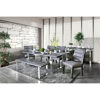 Furniture of America Newcastle 6-Piece Dining Table Set with Bench