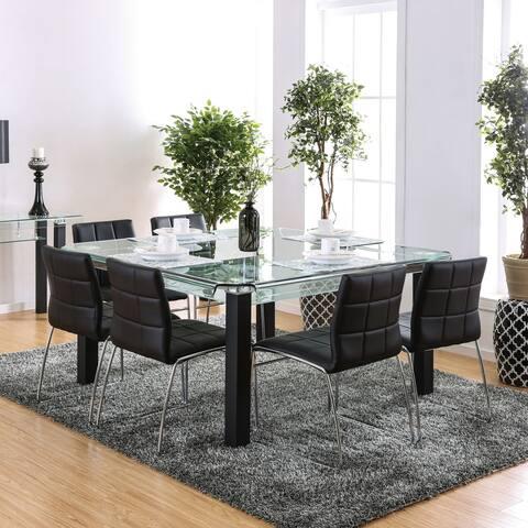 Furniture of America Kensington Modern Black 7-piece Dining Set